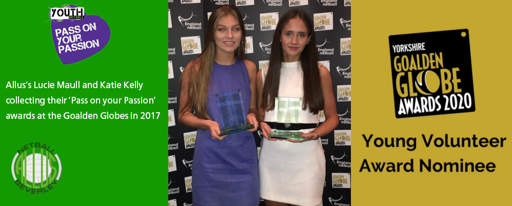 Allus's Lucie Maull and Katie Kelly collecting their 'Pass on your Passion' awards at the Goalden Globes in 2017.